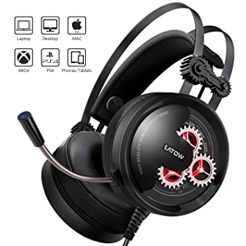 LATOW Auriculares Gaming con Micrófono, Cascos Juegos Estéreo de 50mm Drive para PS4/Xbox One/Switch/Pad/PC, Auriculares con Cancelación de Ruido, ...