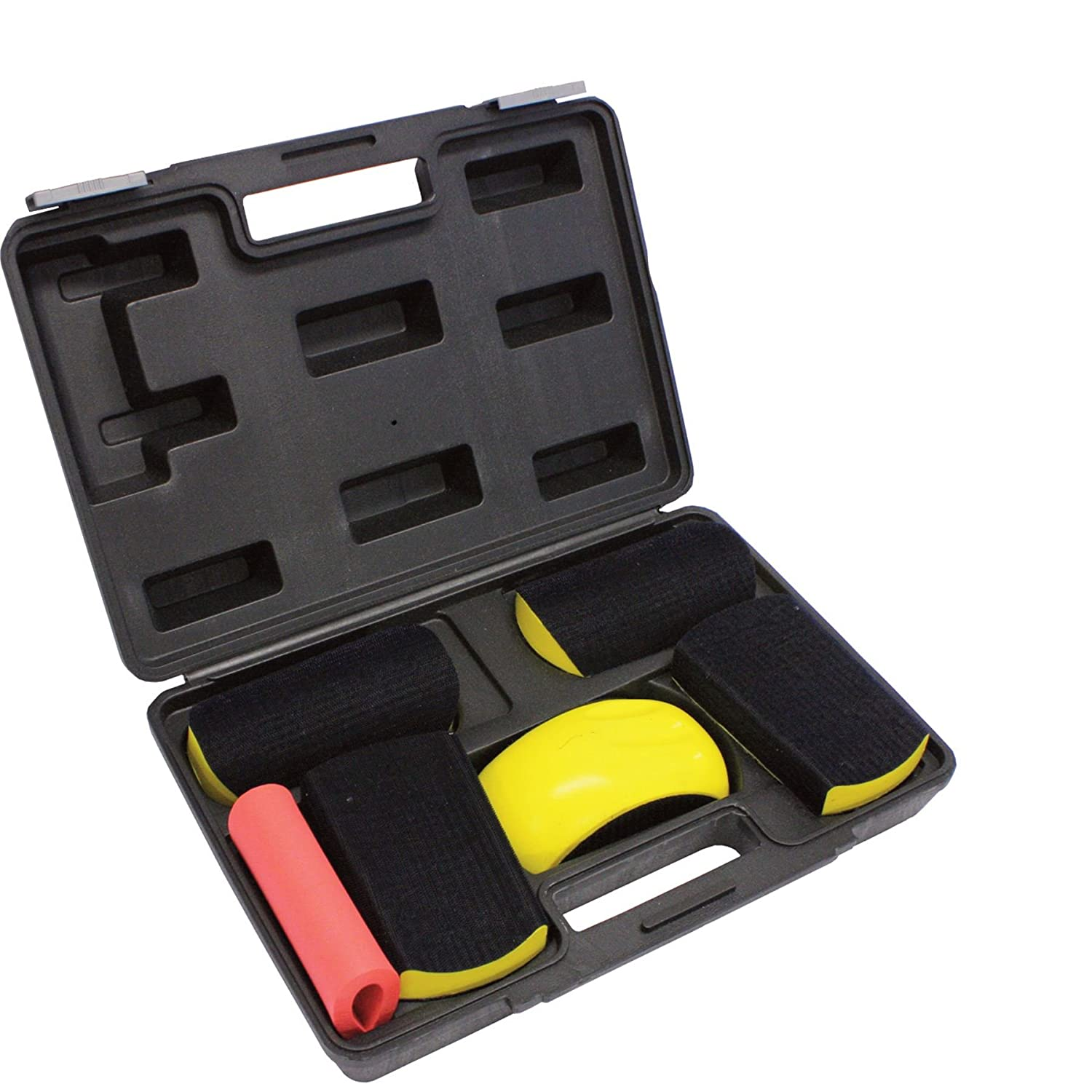 Fast Mover FMT5517 6 Piece Velcro Sanding Block Kit - Convex Concave Bodyshop Abrasive in Suitcase. FMT5511 150mm Block & FMT5516 Teardrop Sander Kit idealy for Wheel Arches, Wings and Grooves