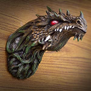 Ebros Gift Fantasy Green Dryad Tree Greenman Dragon Head Wall Decor Plaque With Red LED Illuminated Eyes Dungeons And Dragons Medieval Renaissance Legends Hanging Sculpture Home Decor