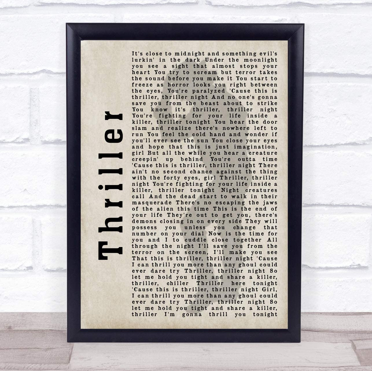 Thriller Shadow Song Lyric Quote Print