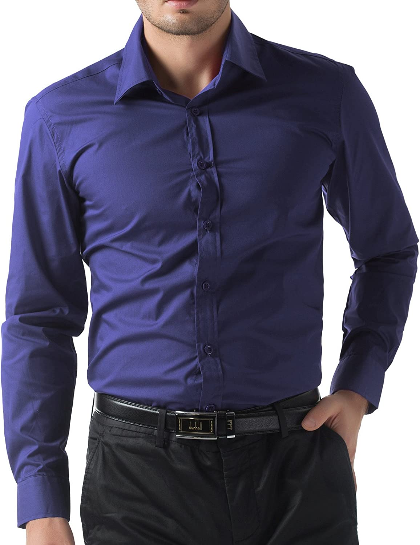 PAUL JONES Mens Stylish /& Slim Fit Solid Color Long Sleeve Cotton Shirt Tops