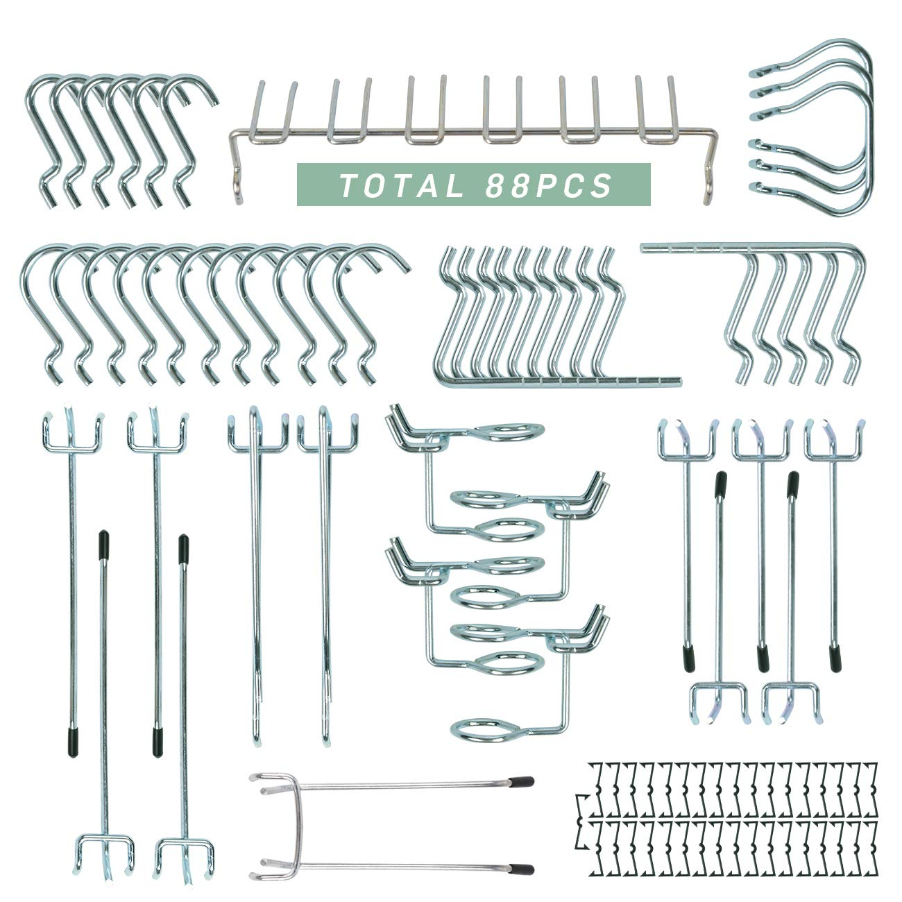 88 Pcs Pegboard Metal Hooks Assortment Peg Board Organization Anti Rust Shop Tools Display Garage Warehouse Factory Storage