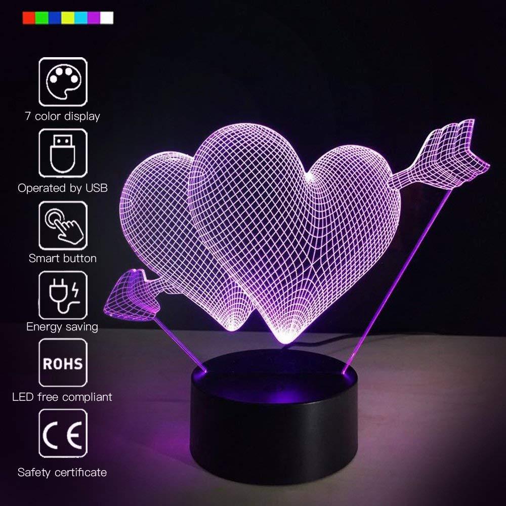 Nrpfell Romantic 3D Glow LED Night Light 7 Colors Optical