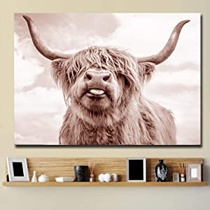 "Modern Canvas Painting Poster and Prints Wall Nordic Highland Cow Poster Cattle Fashion for Living Room Home Decor 11.8""x19.6""(30x50cm) Frameless"