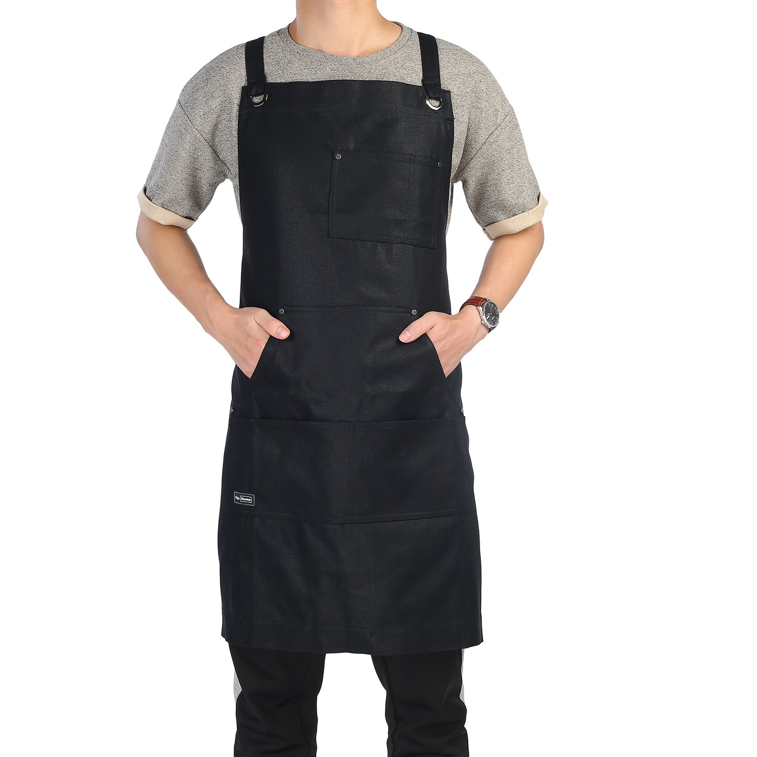 Work Apron, Clya Home Heavy Duty Waxed Canvas Apron Shop Apron with Tool Pockets, Adjustable Cross-Back Straps Up To XXL for Men Women (Black)