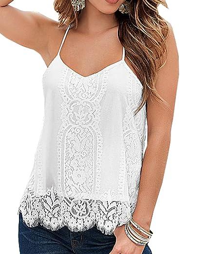8cd7084df8586 Womens Spaghetti Strap Lace Crochet Racerback White Tank Top (M) at ...