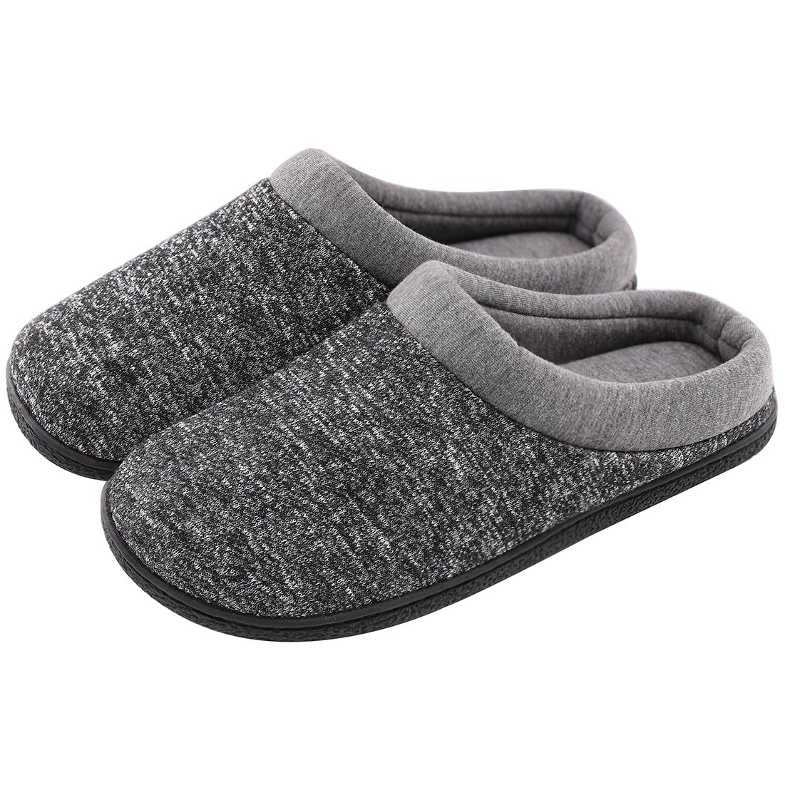 HomeTop Men's Comfort Breathable Moisture-Wicking Spring Summer Slip On Memory Foam House Slippers Shoes Indoor/Outdoor (9-10 D(M) US, Gray)