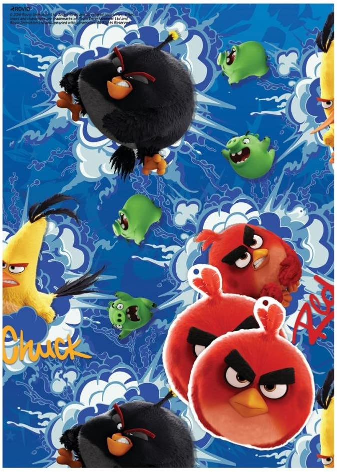 Angry Birds wrapping paper 2 sheets and 2 tags