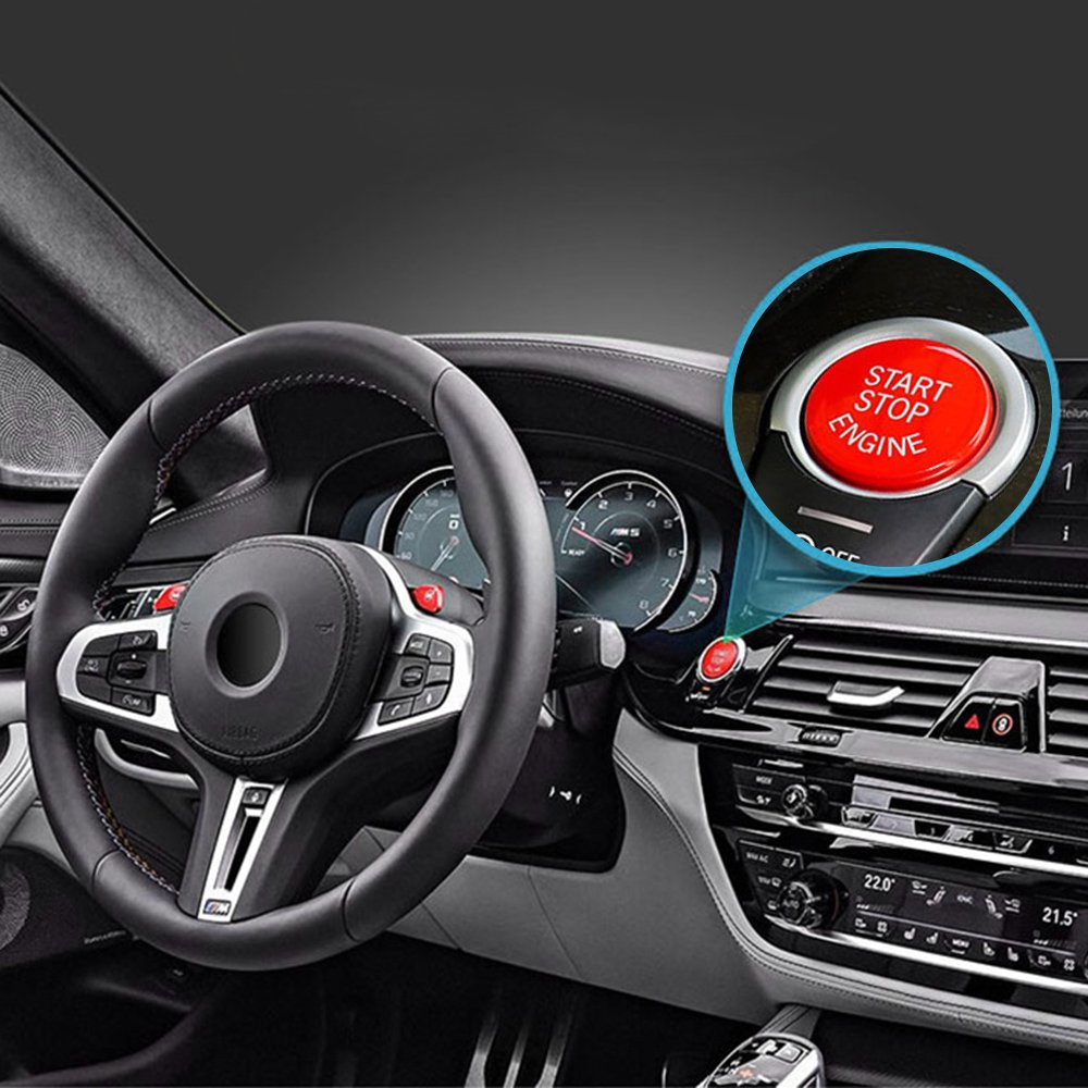 Qiilu Motor-Startknopf Abdeckung Konsole Auto-Motor-Stopp-Taste Start-Stoppschalter Abdeckung mit Installationswerkzeug f/ür 3 series E90 E91 E92 E93 5 series E60 X1 E84 X3 E83 X5 E70 X6 E71 X6 E72 ROT