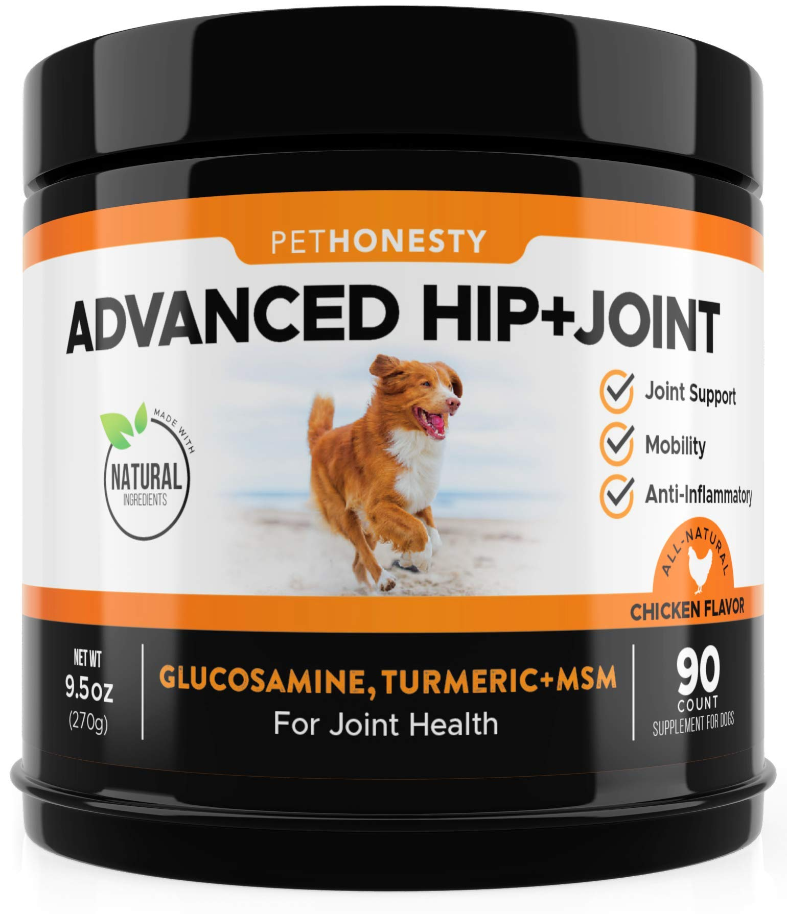 Glucosamine for Dogs - Dog Joint Supplement Support for Dogs with glucosamine Chondroitin, MSM, Turmeric - Advanced Hip and Joint Support for Dogs Chews and Pet Joint Pain Relief - 90 ct by PetHonesty
