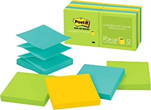 Post-it Pop-up Notes, 3 in x 3 in, 12 Pads, America's #1 Favorite Sticky Notes, Jaipur Collection, Bold Colors (Green, Yellow, Orange, Purple, Blue), Clean Removal, Recyclable (R330-12AU)