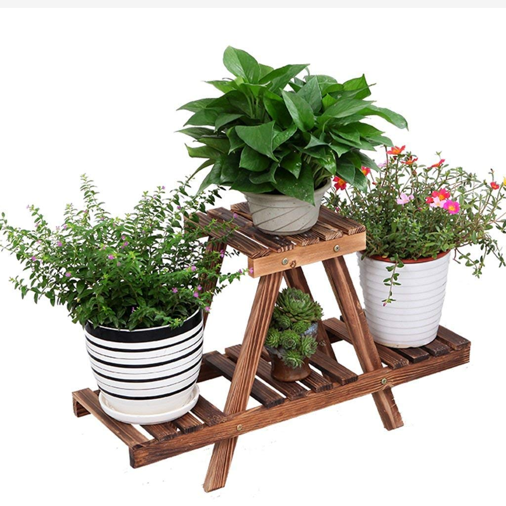 CWJ Flower Stand-Multifunzionale in Legno Flower Stand Desktop Torus Storage Rack Balcone Decorativo Shelf Living Room Plant Indoor e Outdoor Flower Pot Holder,54  17  31 Centimetri,colore Antracit