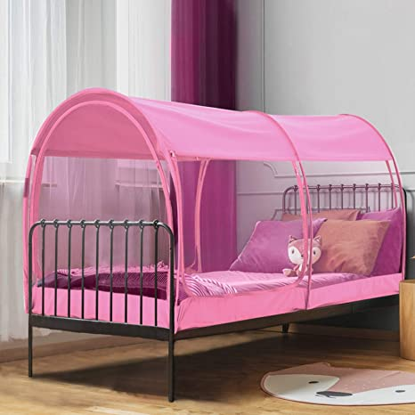Amazon Com Leedor Mosquito Net Bed Tent Canopy Indoor Tent Privacy Bed Fort Dream Tent For Kids Or Adult Pink Twin 75 X 39 X 47h Mattress Not Included Home Kitchen