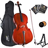 Mendini By Cecilio Cello - Musical Instrument For Kids & Adults - Cellos Kit w/Bow, Stand, Bag - Stringed Music Instruments F