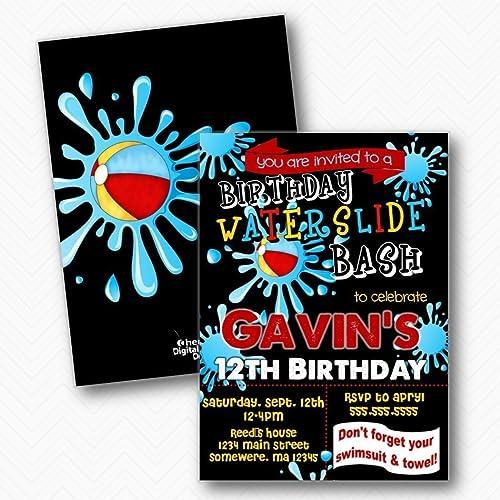 Amazon Waterslide Splash Birthday Party Invitations