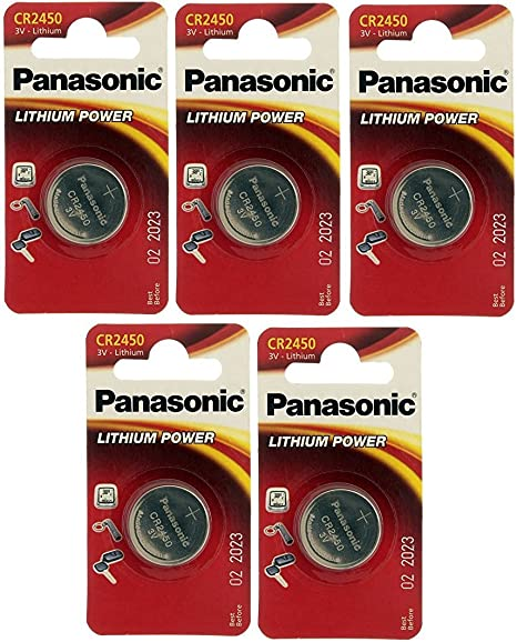 Panasonic 5 Stück Highenergy 1 Knopfzelle Cell Power Cr2450 Lithium 3 V Bürobedarf Schreibwaren