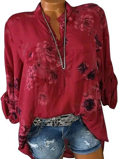 Blusa de Manga Larga con Estampado Floral para Mujer - Rojo - 2X-Large: Amazon.es: Ropa y accesorios