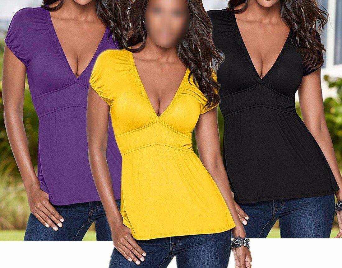 Z Mujer Atractiva Delgada V del Verano del Cuello De Manga Corta Camiseta Color Solido Tunica Camisetas: Amazon.es: Ropa y accesorios
