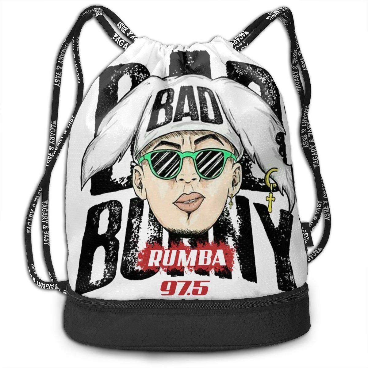 AgoodShop Bad Bunny Drawstring Backpack Sport Gym Travel Bag