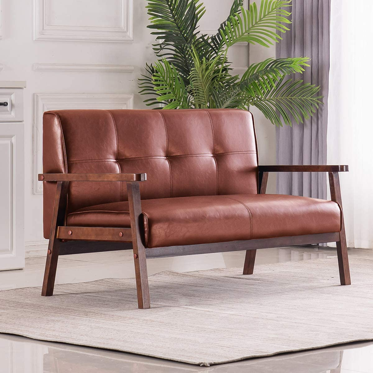 Mid-Century Retro Modern Loveseat Faux Leather Upholstered Wooden 2-Seater Sofa (Brown)