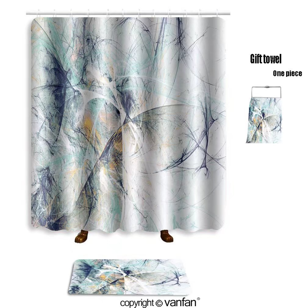 vanfan bath sets with Polyester rugs and shower curtain abstract ...