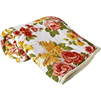 Clasiko Double Bed Comforter Orange Flowers, Fabric- Micro Cotton, Size - 84x84 Inches, Color Fastness Guarantee, 250 GSM