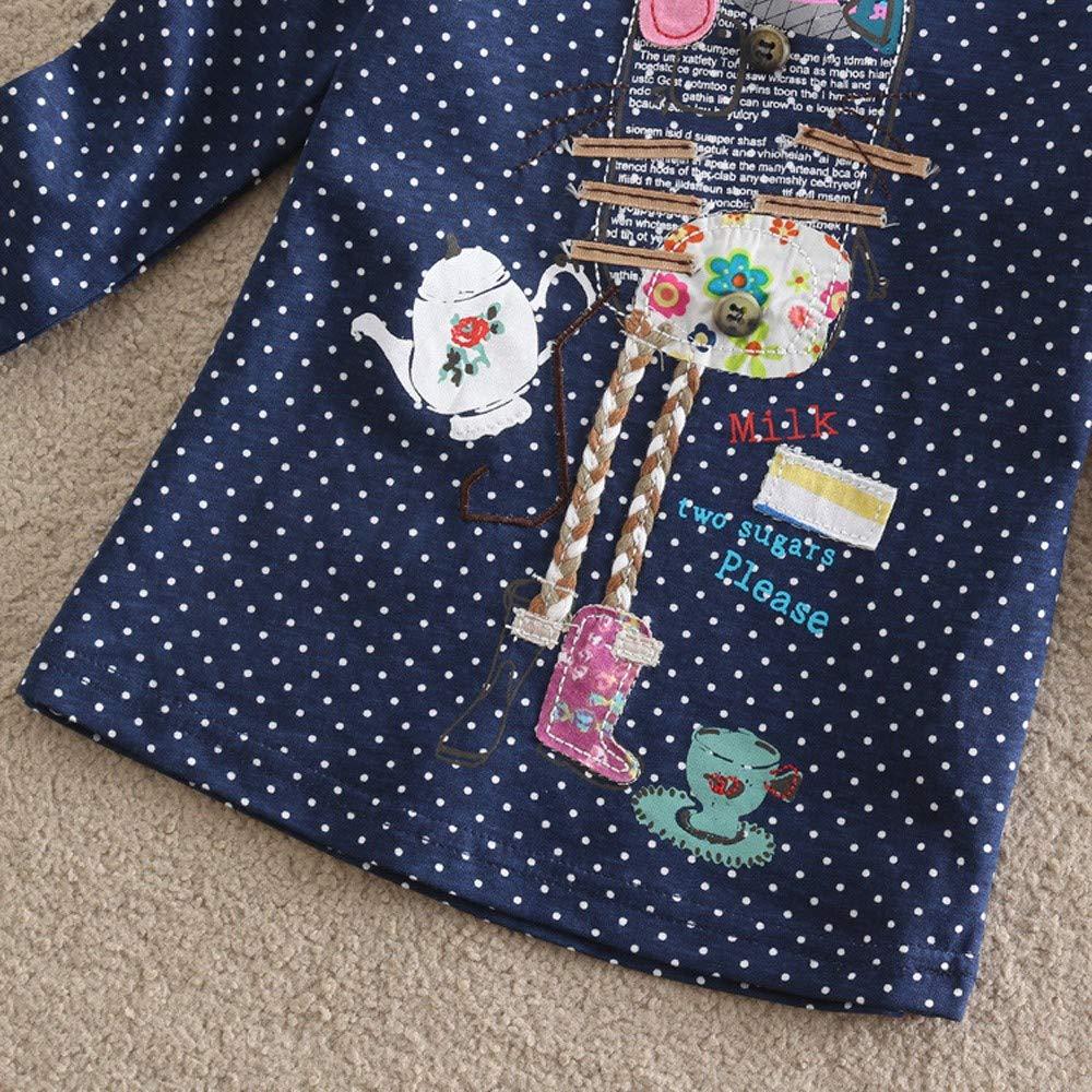 2-7 Years BURFLY Toddler Baby Kid Girl Abstract Cartoon Knitting Pattern Polka Dot Print Pullover Tops Clothes