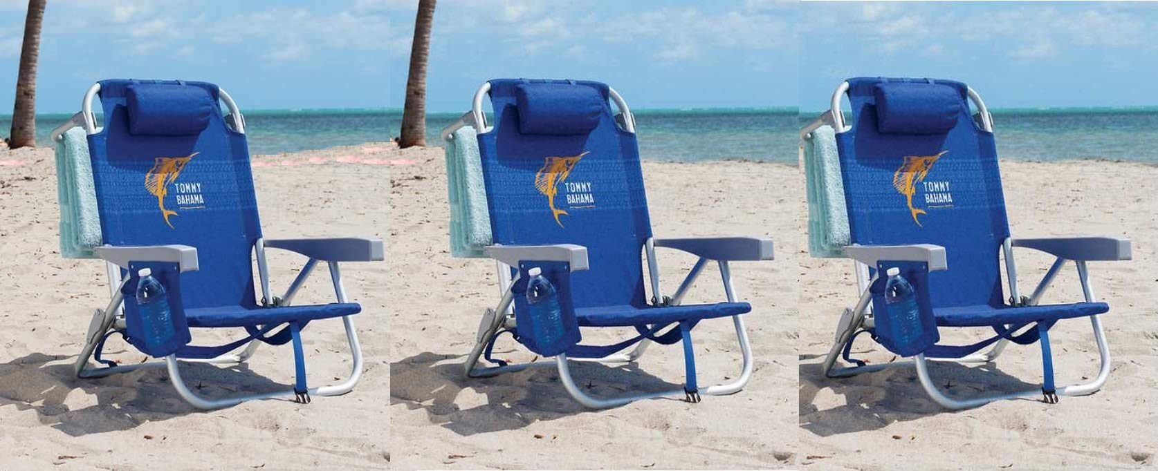 Tommy Bahama 3 Pack Backpack Beach Chair Blue with Sailfish Logo