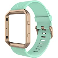 Fitbit Blaze Bands, Simpeak Silicone Replacement Band Strap with Black Frame Case for Fit bit Blaze Smart Fitness Watch, Small, Green