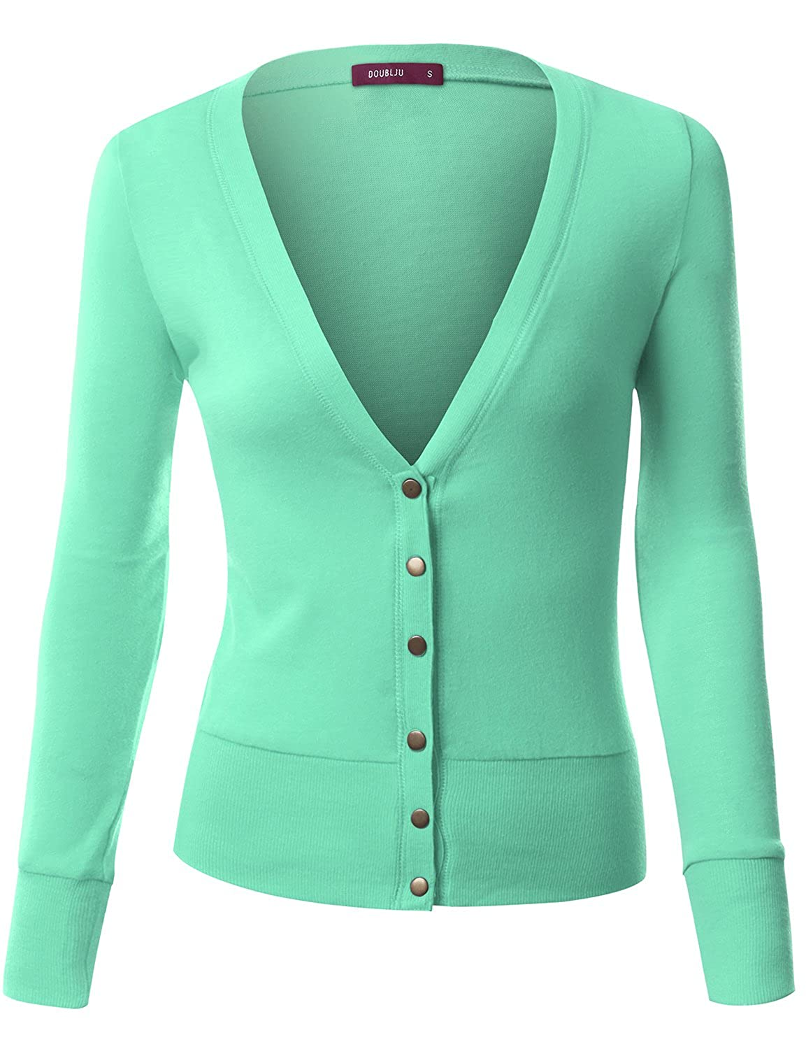 Doublju Womens Button Down Cardigan With Ribbed Cuffs and Waist at ...