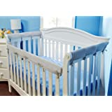 Everyday Kids Padded Baby Crib Rail Cover Set- Crib Rail Teething Guard - 3-Piece Front and Side Padded Rail Cover- with Sewn Ties for Secure Fit - Grey Soft Microfiber Polyester