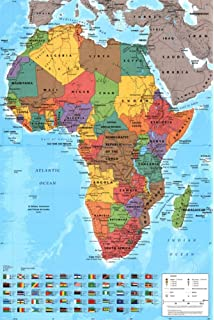Laminated world map poster with flags new encapsulated 36 x 24 africa map wall chart poster satin matt laminated 915 x 61cms 36 x 24 gumiabroncs Gallery