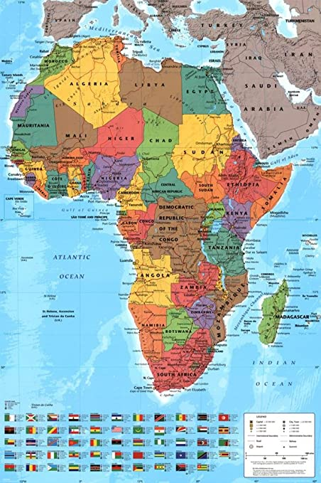 Amazon.com: Africa Map Reference Poster 24 x 36in: Home & Kitchen