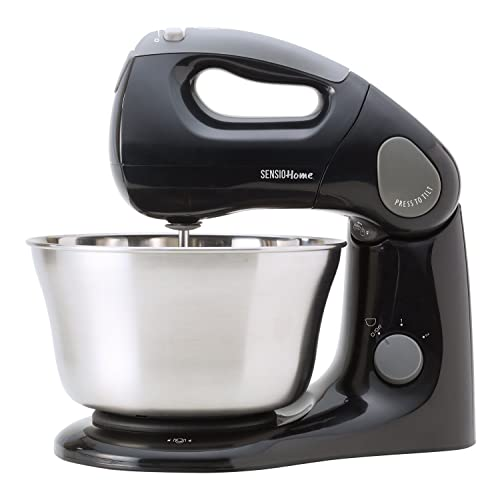 Sensio 2-in-1 Stand & Hand Mixer - 380W Twin Motor - Tilting Head - 3.2L Bowl - Splash Protection, Beaters, Dough Hook, Spatula - Patented Design Mixes All Contents - 60 Days Risk Free
