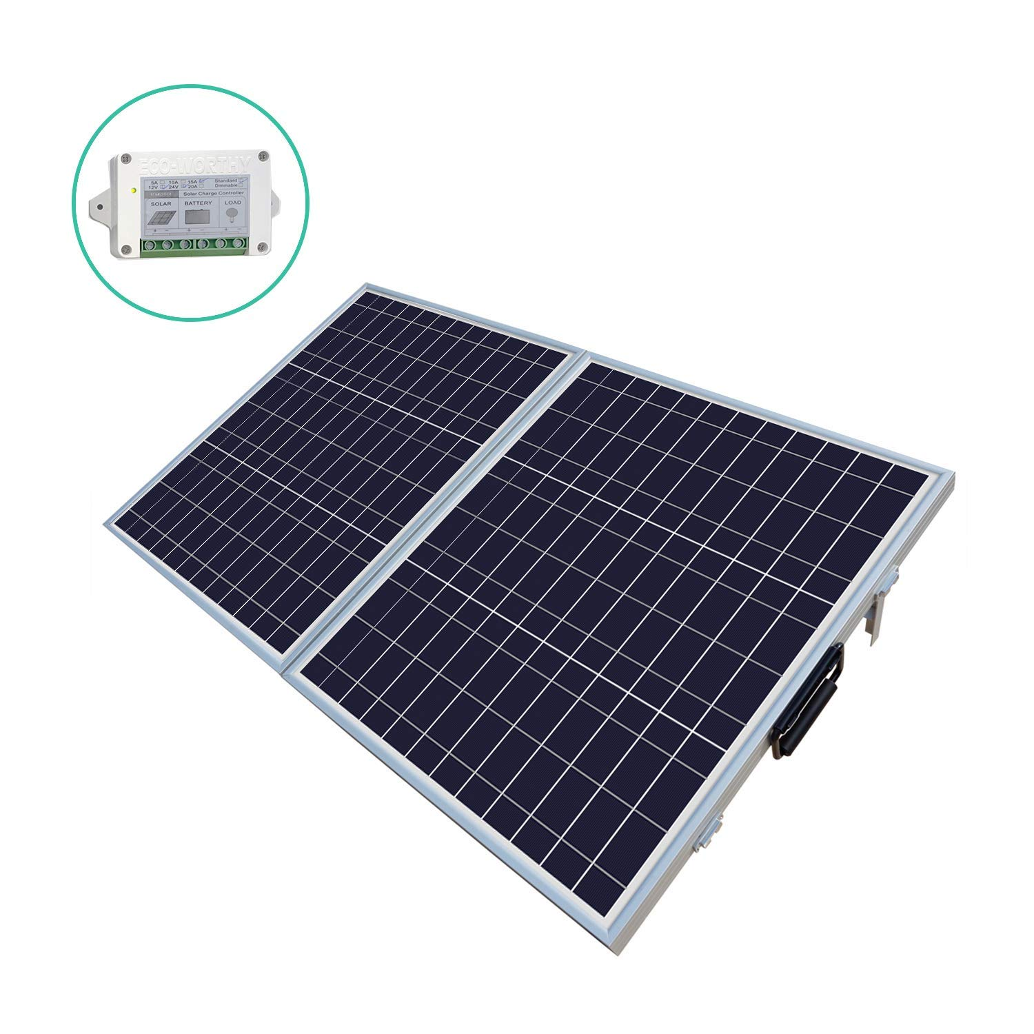 ECO-WORTHY 100 W Watt Portable Kits -100W 2x50W Folding PV Solar Panel 12V RV Boat Off Grid W 15A Charge Controller by ECO-WORTHY