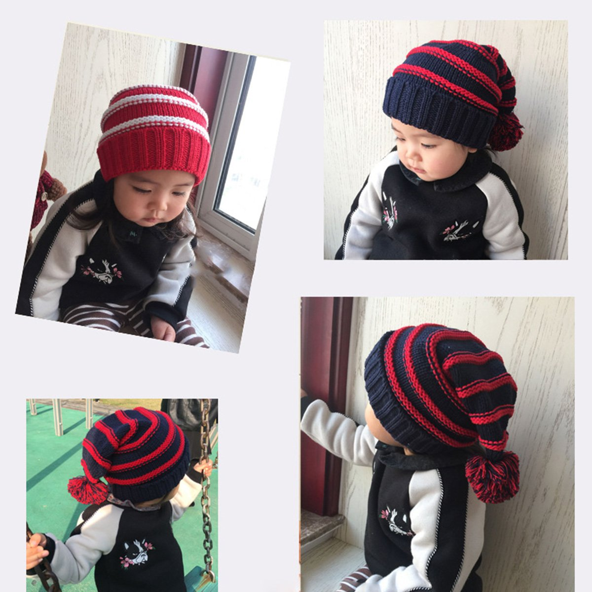 S Red /& White Classic Warm Adorable Kids Striped Knit Winter Pom Pom Hat Beanie Hats for Christmas