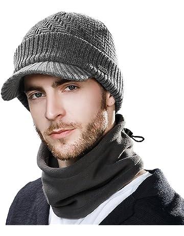 19d2b9de2af9a ... Hat · SIGGI Mens Wool Knit Visor Beanie Winter Hat Scarf Sets Fleece  Mask Neck Warmer