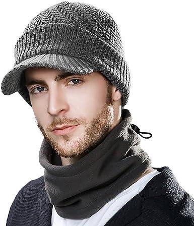 Siggi - Comhats - Conjunto de gorro y bufanda, gorro de punto con visera, de lana, para el invierno, bufanda, de forro polar, braga de cuello, para hombres Gris 69311_Gris M: Amazon.es: