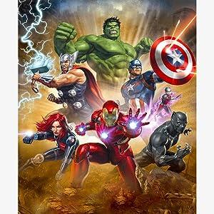 DIY Superhero 5D Diamond Painting Kits for Adults Full Drill,Diamond Arts Craft for Home Wall Decor,Diamond Art Kits Hulk and Captain America and Iron Man 35x45cm(14 x 18 in)(The Avengers)