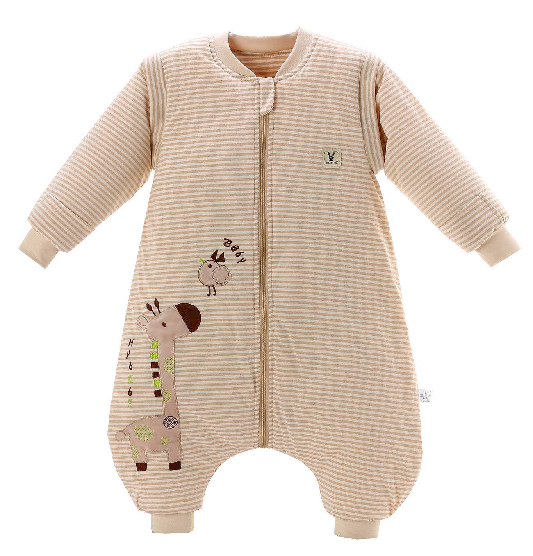 Chilsuessy Baby Winter Schlafsack mit F/ü/ßen und abnehmbar Langarm Pyjamas aus Bio Baumwolle Baby Schlafanzug f/ür Baby 1 bis 3 Jahre S//Koerpergroesse 75-85cm, Elefant//3.5 Tog Verdickt