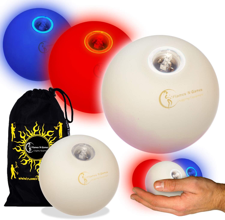 LED Juego de malabares (3 (Rojo/Blanco/Azul) – Profesional pelotas ...