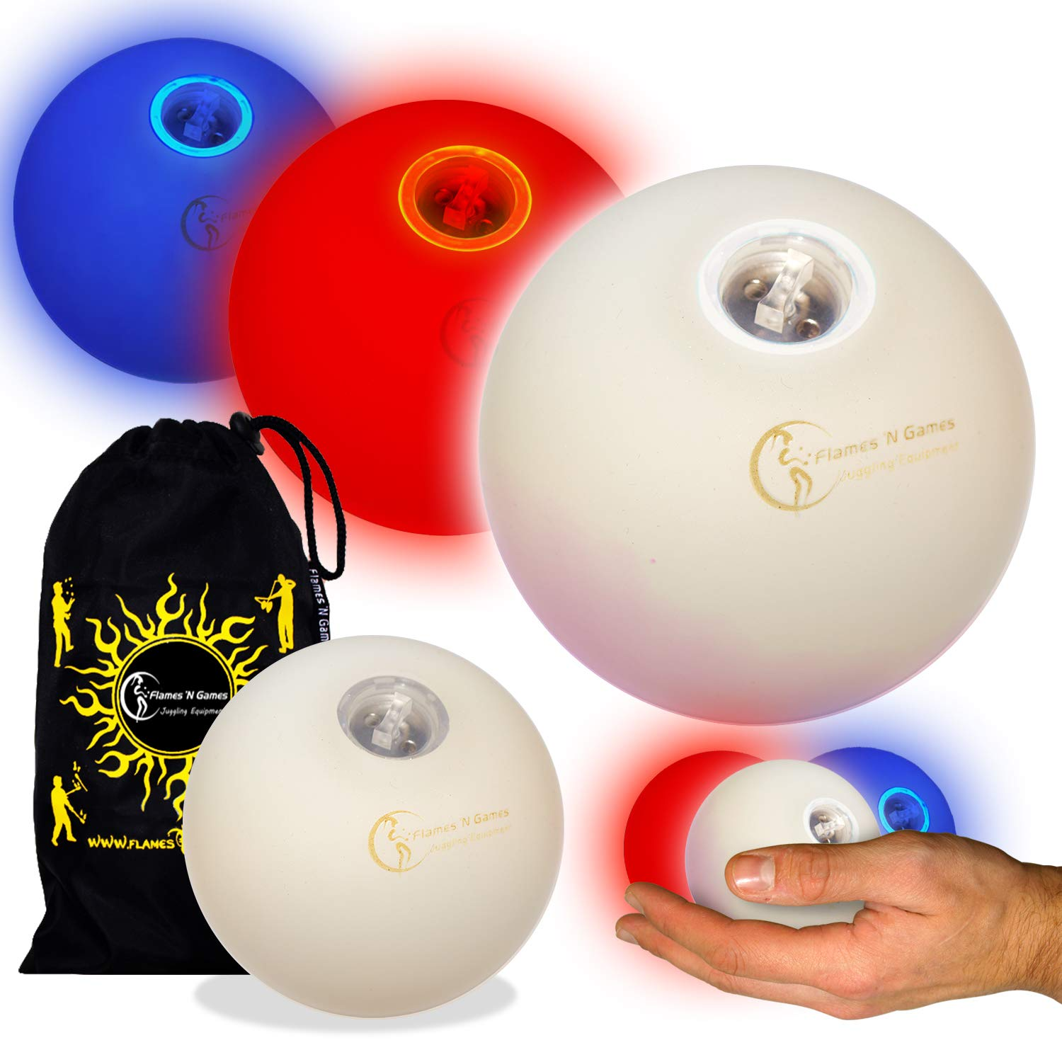 Flames N Games Pro LED Glow Juggling Balls Ultra Bright Battery Powered Glow LED Juggling Ball Sets with Travel Bag.