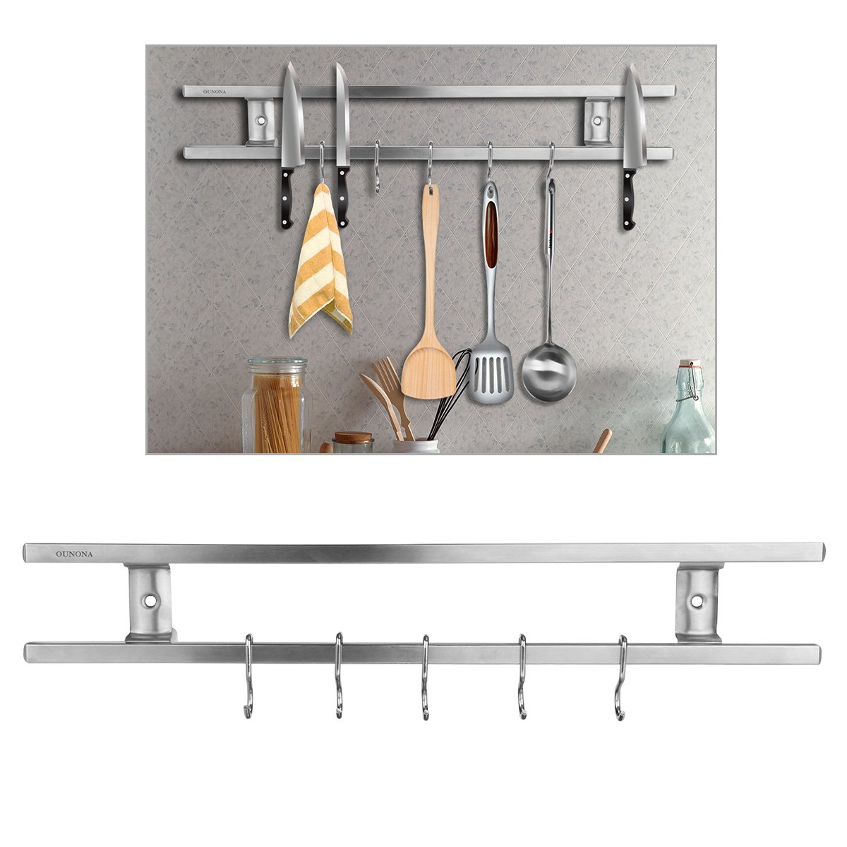 OUNONA Magnetic Knife Holder 16 inch Magnetic Knife Strips Stainless Steel with 6 Removable Hooks by OUNONA