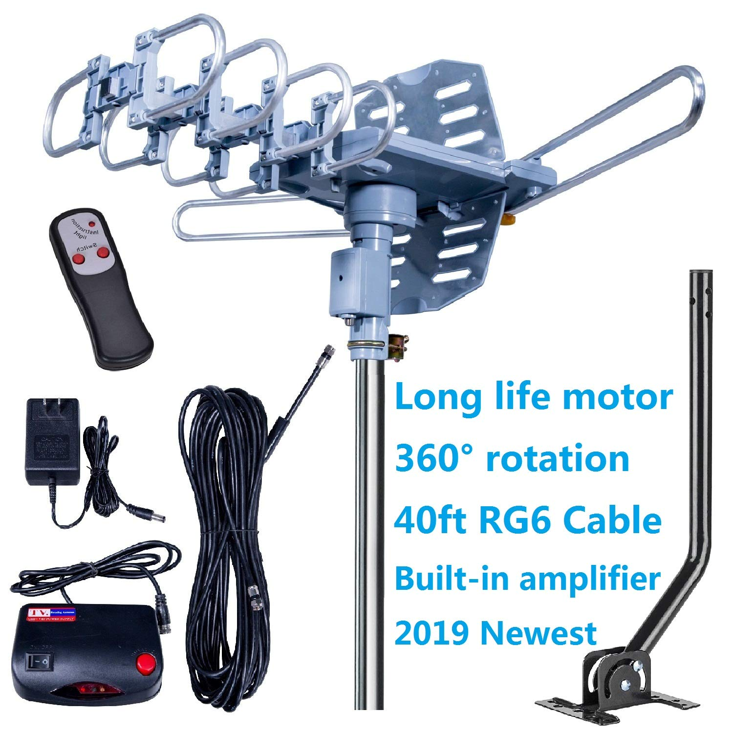 2019UPDATED-150 Miles-Amplified Outdoor TV Antenna+Mount Pole-4K/1080p High Reception+40FT RG6 Cable-360°Strong Motor Rotation Wireless Remote- Snap On Installation+2TV Function by Fardalo