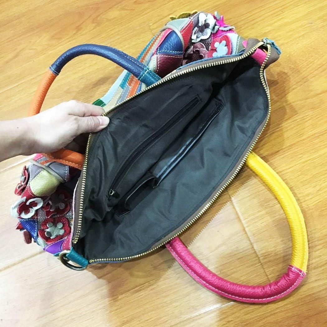Medium Practical Size Messenger Bag Large Capacity Casual Shoulder Bag Crossbody Bag RYRYBH Womens Soft Leather Handbags Folk Color Matching Flower Mosaic Handbags