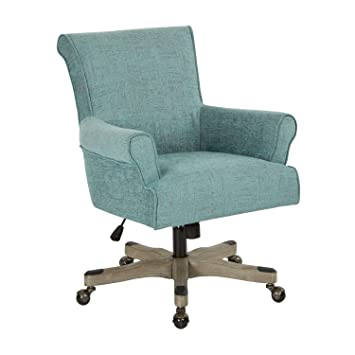 OSP Accents Megan Velvet Office Desk Chair In Turquoise Fabric With Grey  Wash Wood