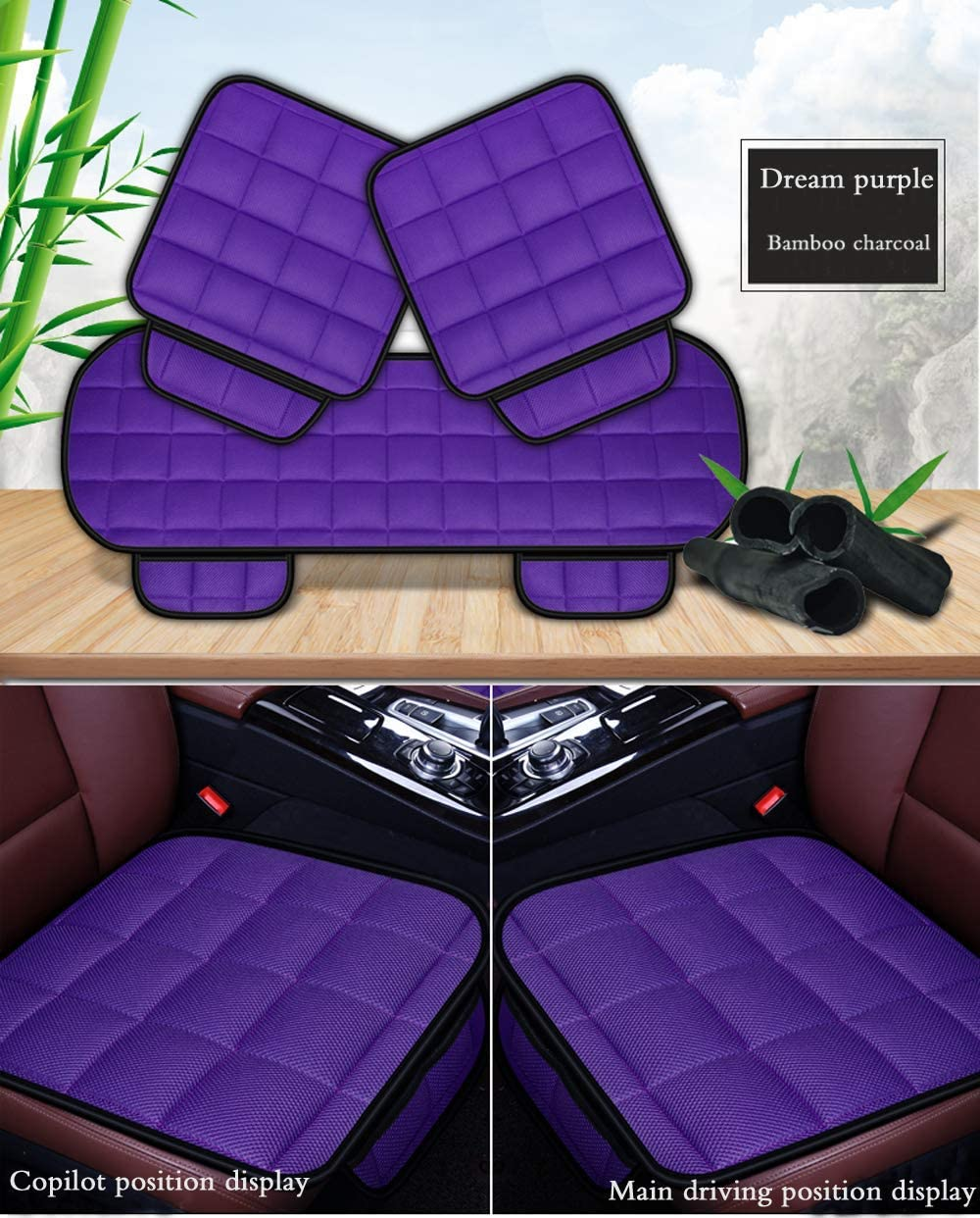DuoDuoBling Car Seat Cushion Pad for Car Driver Seat Office Chair Black, 1 Front Computer Chair with Non Slip Bottom Memory Carbon Seat Cushion