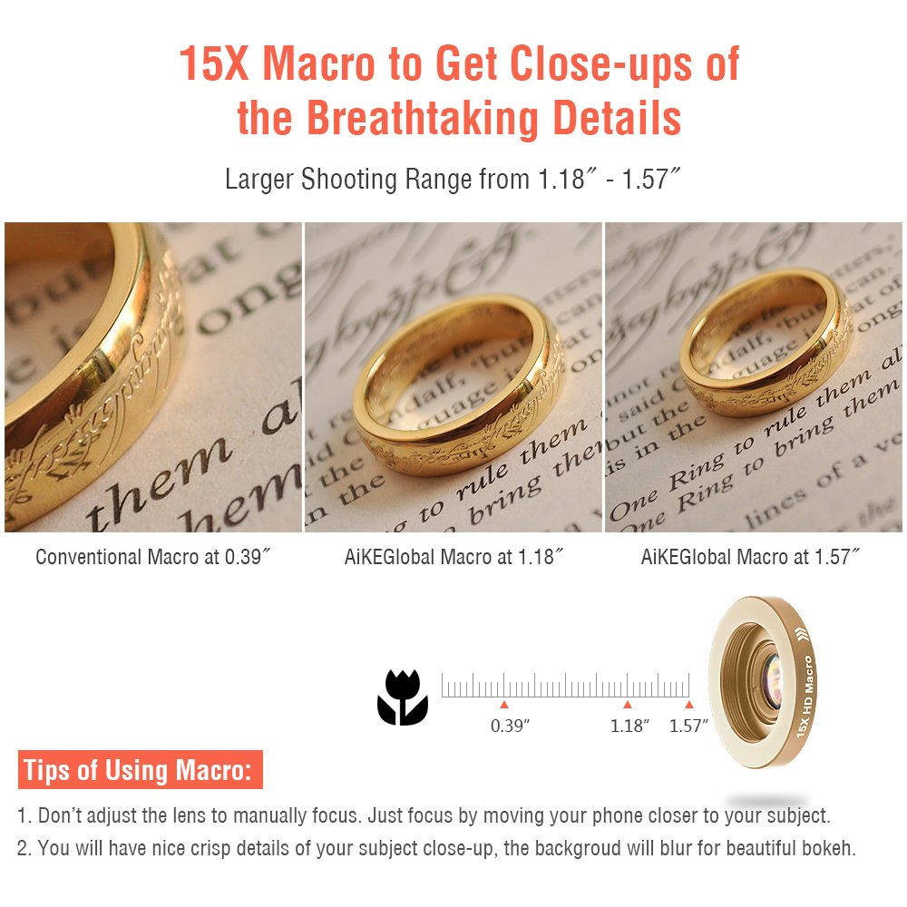iPhone Lenses Kit - Universal 2 in 1 120°Wide Angle Lens & 15X Macro Lens, Cell Phone Camera Lens for iPhone 7/7 Plus/6s/6s Plus/6/5, Samsung Galaxy & More, Buy 1 Get 1 Free (Gold)