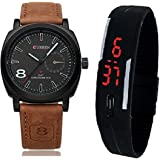 BLUTECH Analogue Black Dial Men's & Boy's Watch stylish combo cuuren+led