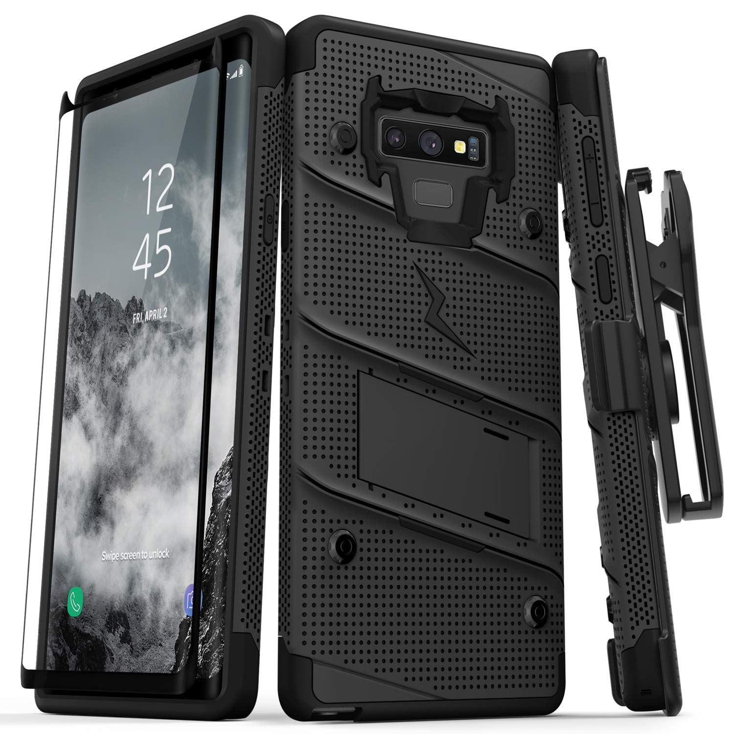 Zizo Bolt Series Galaxy Note 9 Case Grade Drop Tested and Tempered Glass Screen Protector for Samsung Galaxy Note 9 - Black 1BOLT-SAMGN9-BKBK by Zizo